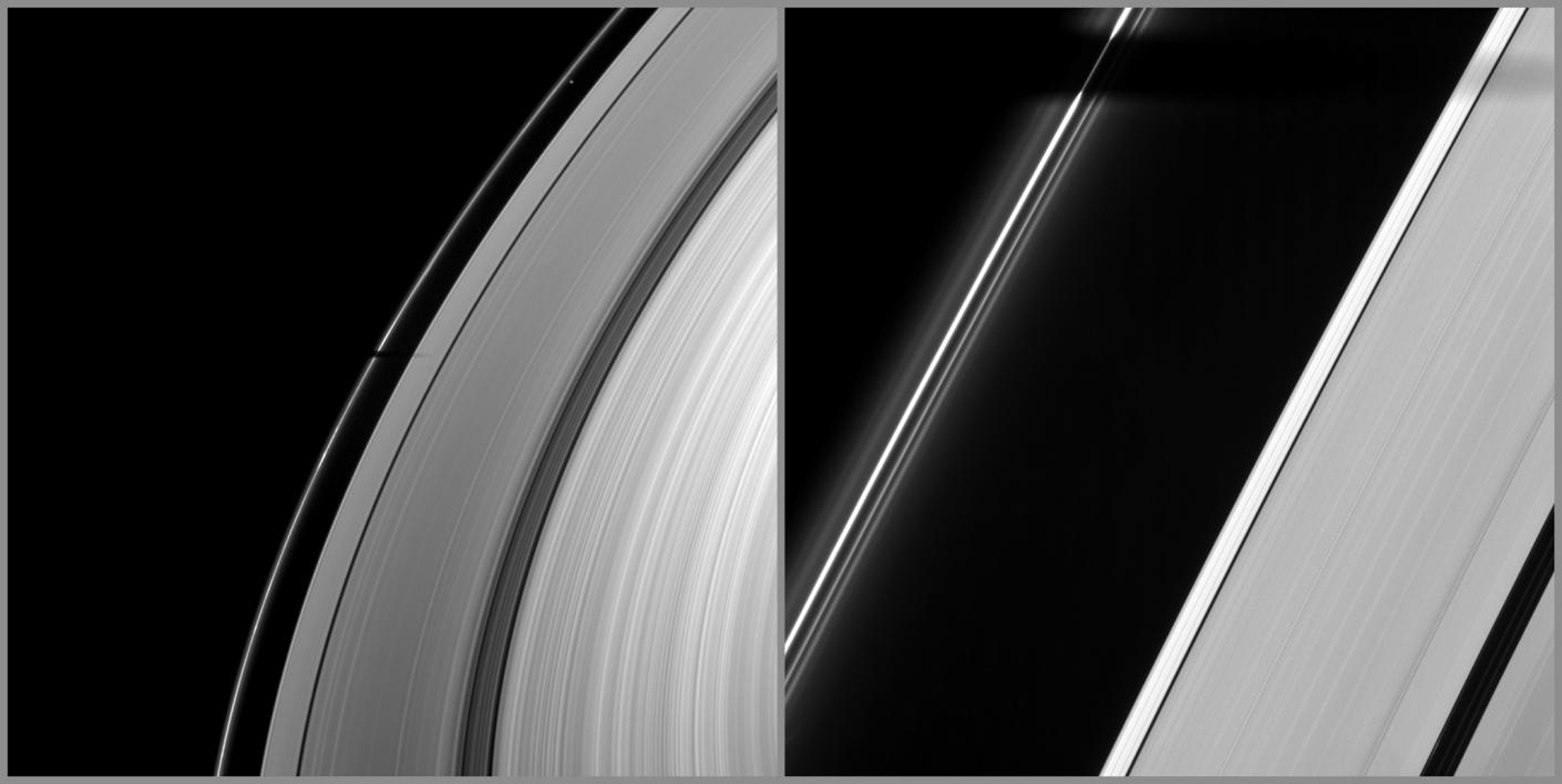 Joining other moons in heralding the coming of Saturn's August 2009 equinox, the moon Tethys casts its shadow across Saturn's F ring and part of the A ring in this image from NASA's Cassini spacecraft taken on March 20, 2009.