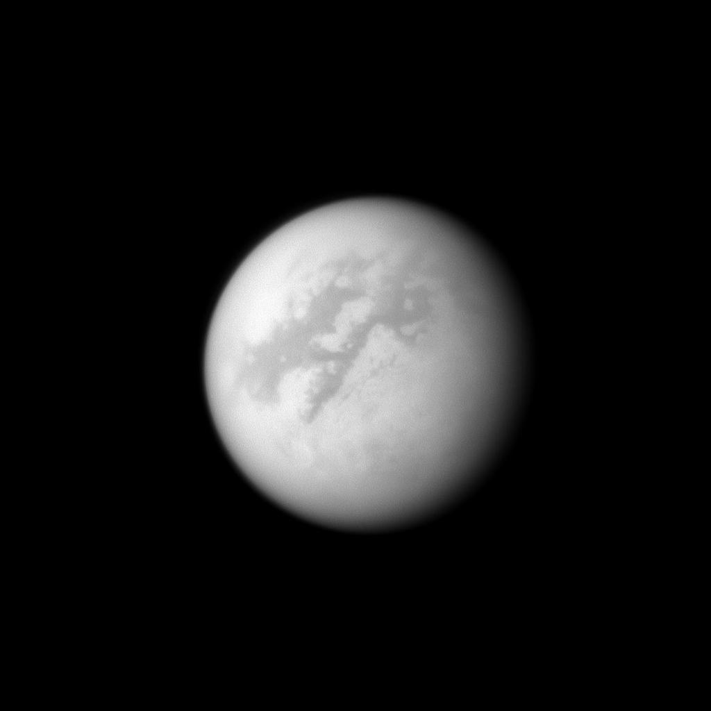 The Cassini spacecraft looks toward Fensal and Aztlan, two dark areas near the equator of Titan.