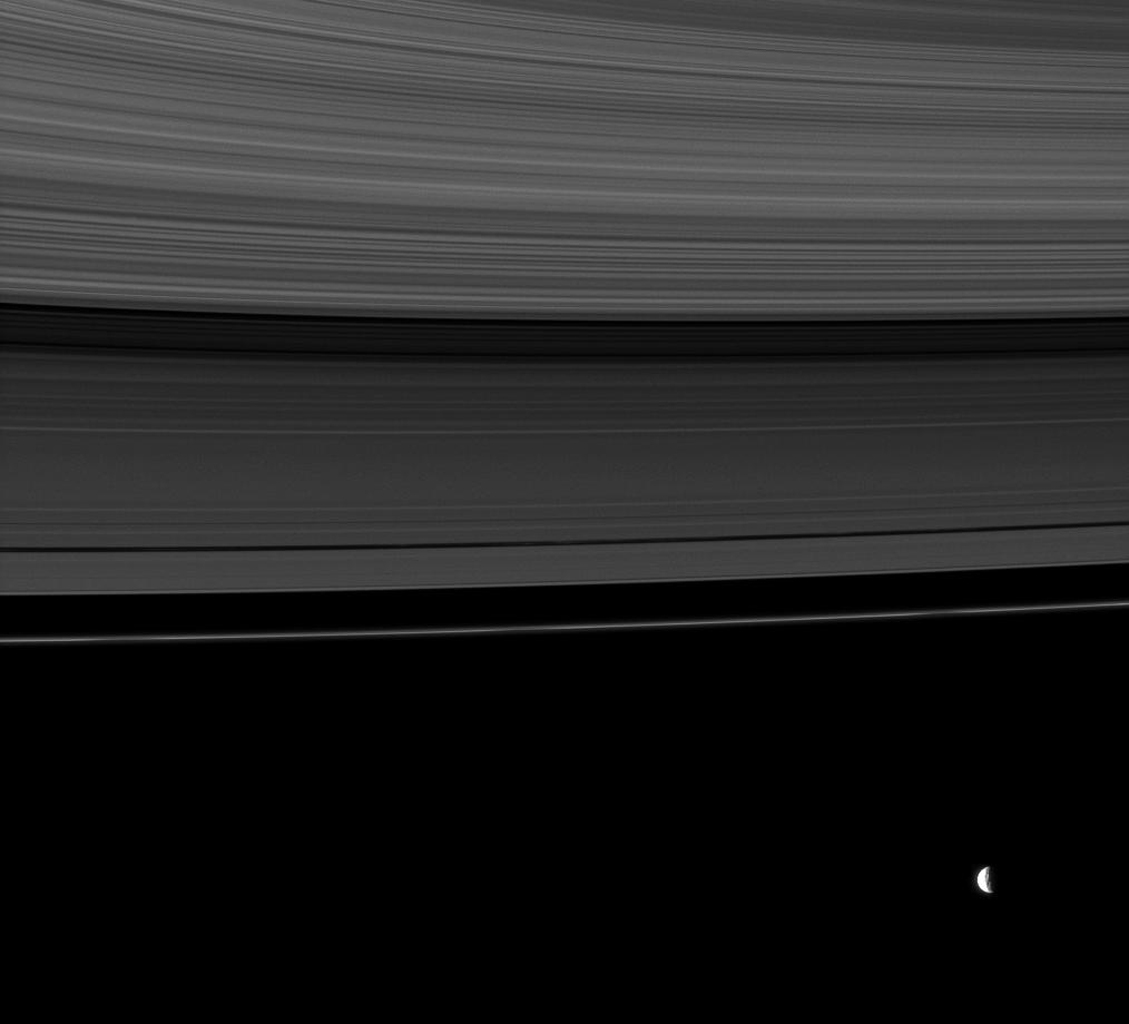 The rings share this view with Saturn's moon Mimas, whose gravity influences the rings in this image taken by NASA's Cassini Orbiter.