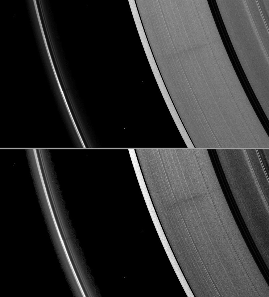 A vertically extended structure or object in Saturn's F ring casts a shadow long enough to reach the A ring in this image from NASA's Cassini spacecraft taken just days before planet's August 2009 equinox.