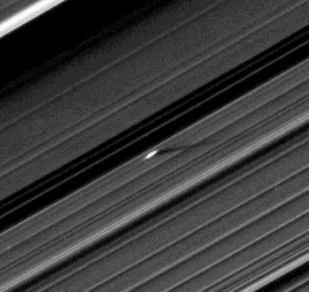 An unusually large propeller feature is detected just beyond the Encke Gap in this image from NASA's Cassini spacecraft of Saturn's outer A ring taken a couple days after the planet's August 2009 equinox.