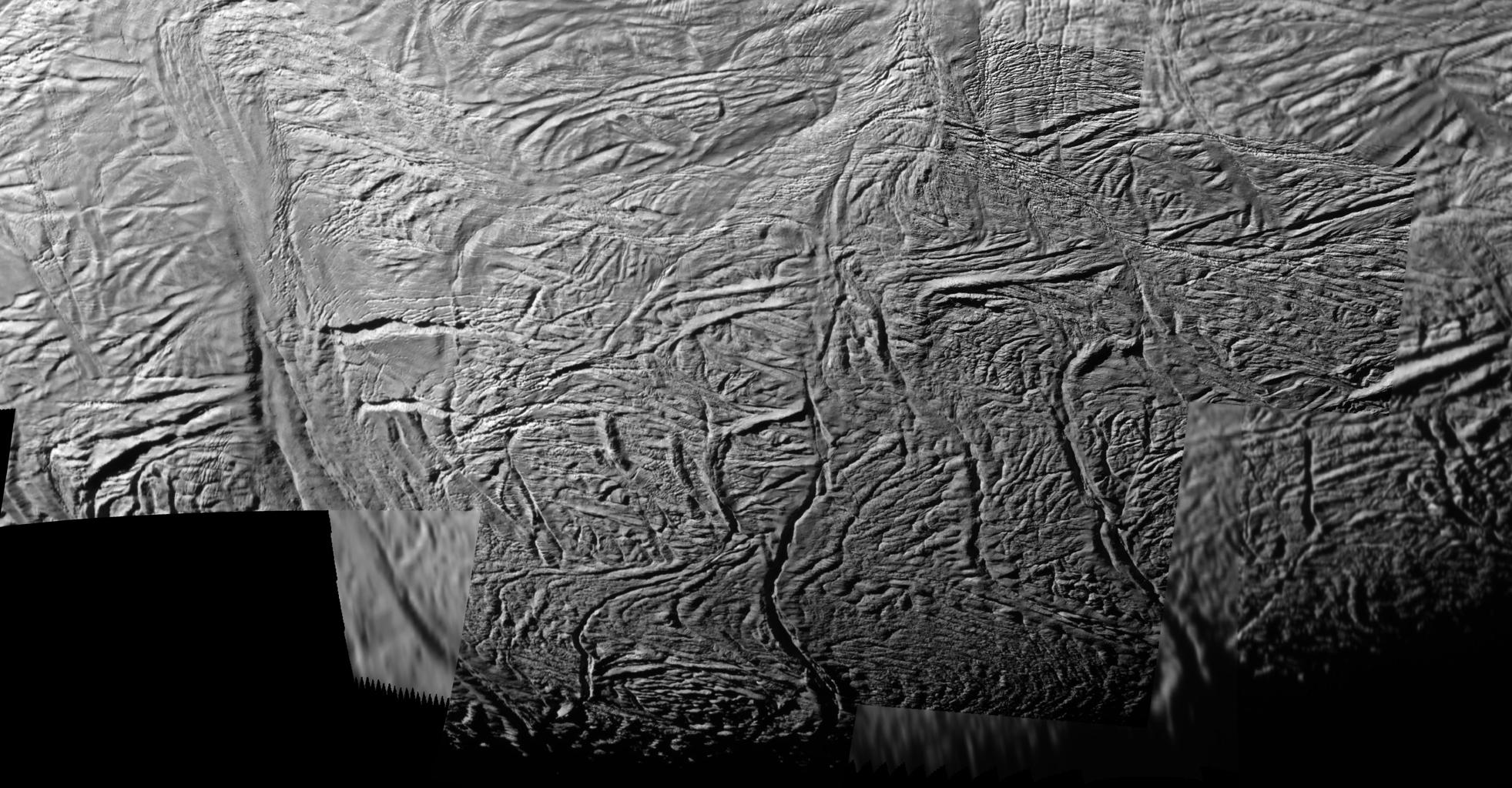 This mosaic shows extraordinary details of tectonic deformation in the fractured south polar region of Saturn's moon Enceladus, where jets of water ice spray outward to form Saturn's E ring. The images were captured by NASA's Cassini spacecraft.