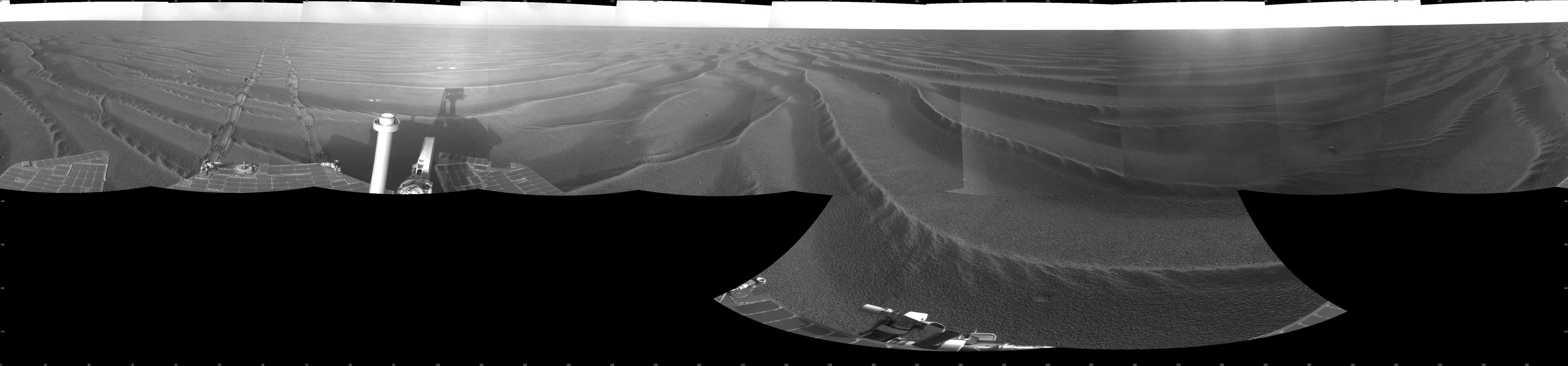 NASA's Mars Exploration Rover Opportunity used its navigation camera to take the images combined into this 360-degree view of the rover's surroundings.