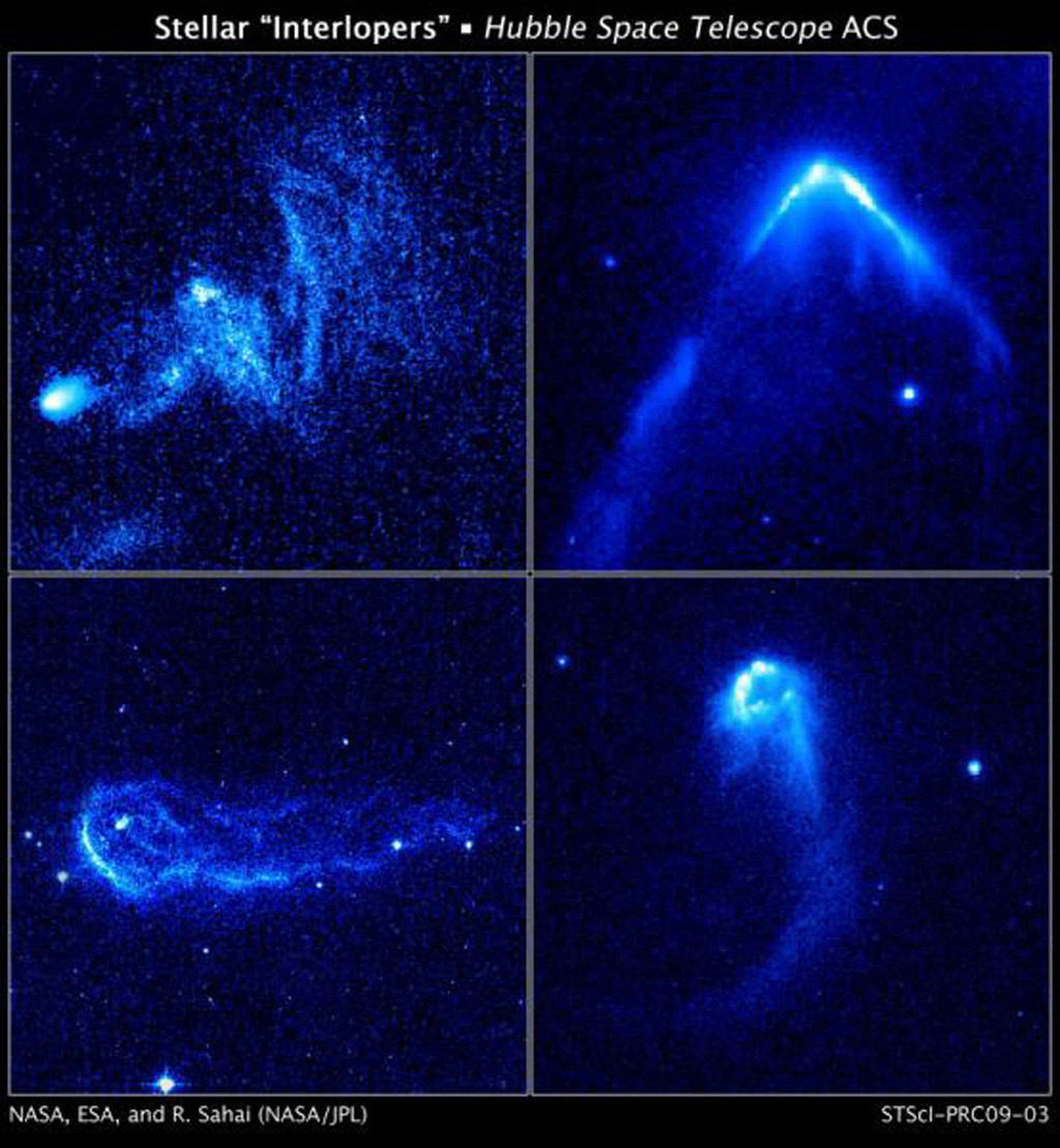 These bright arrowheads, or bow shocks, can be seen in these four images taken with NASA's Hubble Space Telescope. The bow shocks form when the stars' powerful stellar winds, streams of matter flowing from the stars, slam into surrounding dense gas.