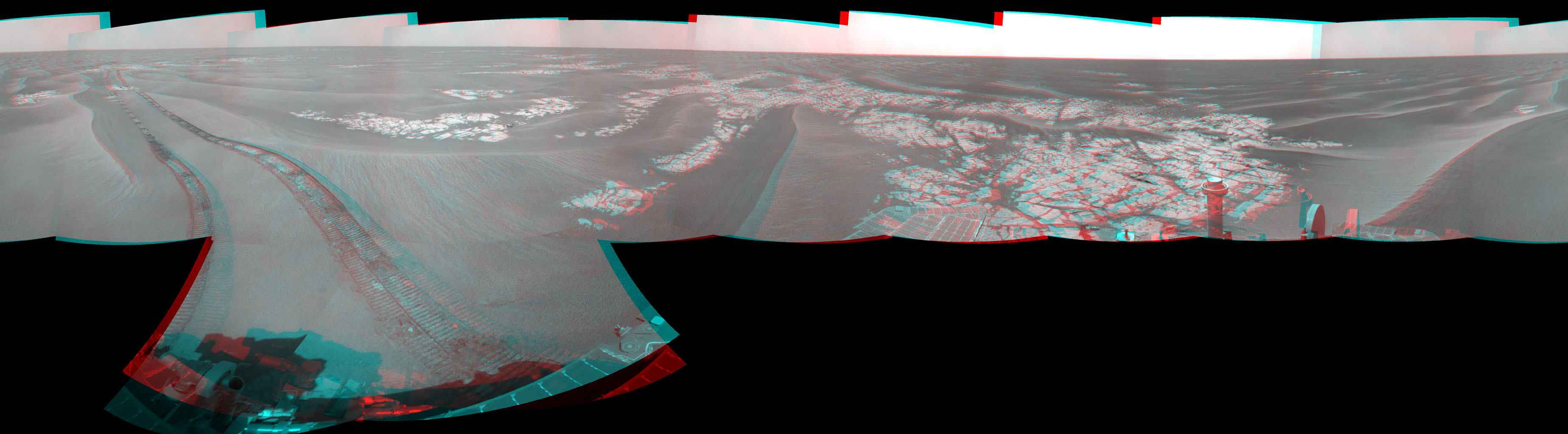 NASA's Mars Exploration Rover Opportunity combined images into this full-circle view of the rover's surroundings. Tracks from the rover's drive recede northward across dark-toned sand ripples in the Meridiani Planum region of Mars. You need 3D glasses.