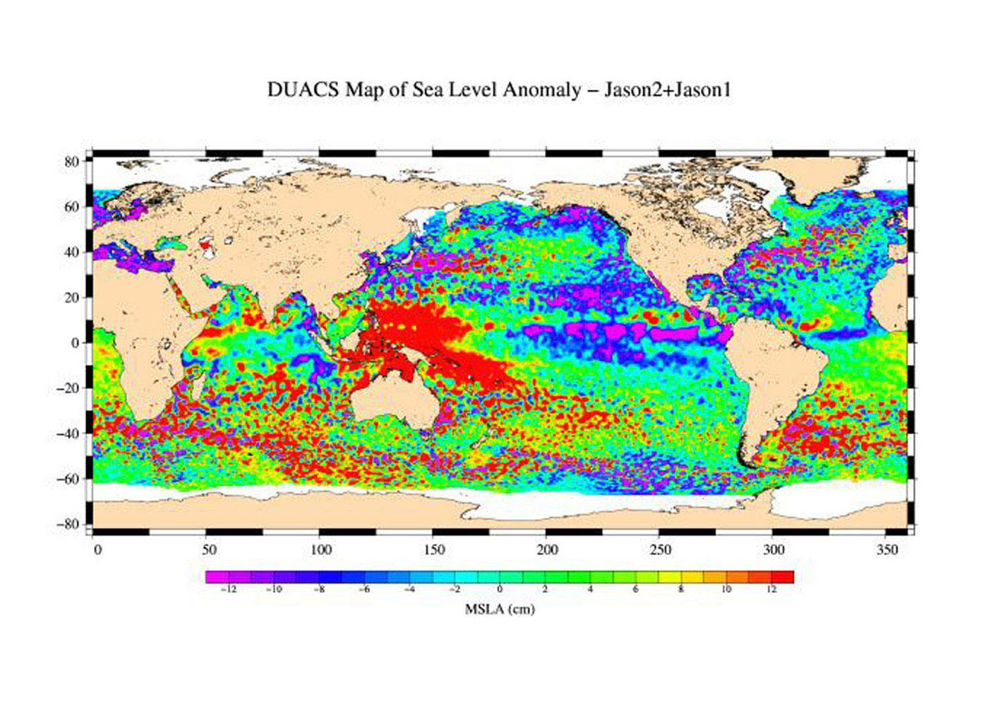 This is the first global map of ocean surface topography produced with data from the interleaved tandem mission of NASA's Jason-1 and Ocean Surface Topography Mission (OSTM)/Jason-2 satellites.