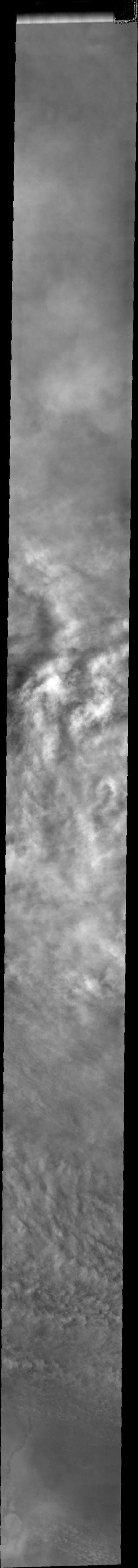 This image from NASA's Mars Odyssey shows bright cloud tops during Mars' southern hemisphere dust storm season.