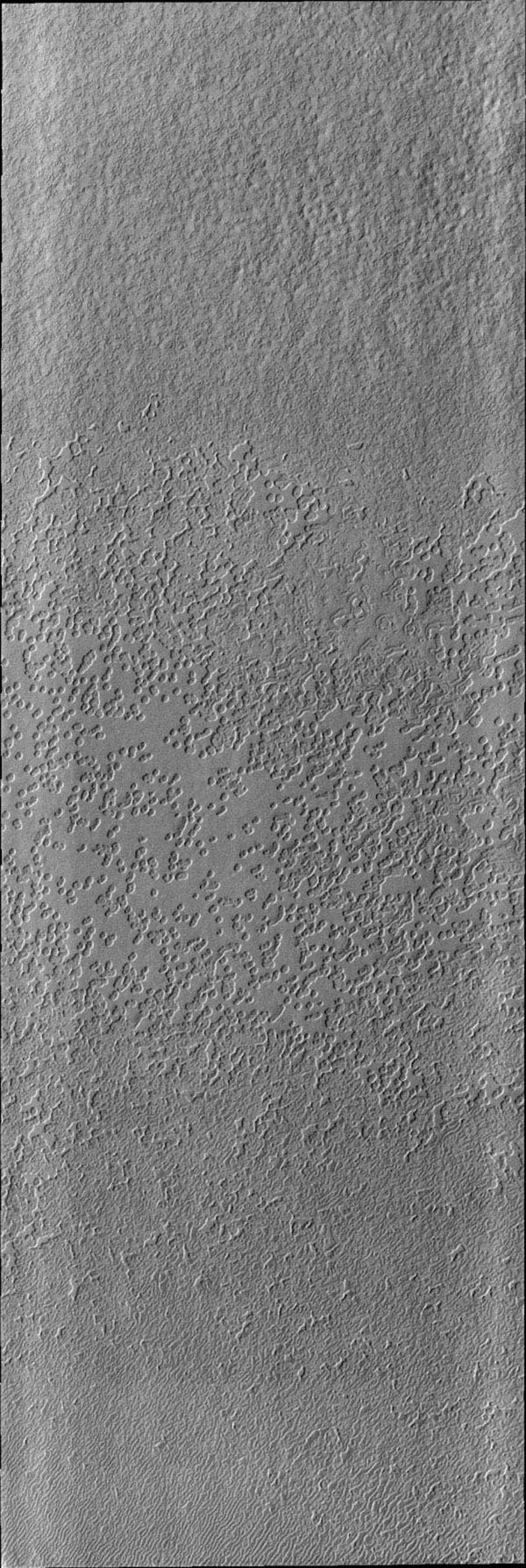 As spring turns to summer, the frost cover has been removed from the south polar cap on Mars. The surface textures seen in this image are created by action of the sun on the icy cap as seen by NASA's Mars Odyssey spacecraft.