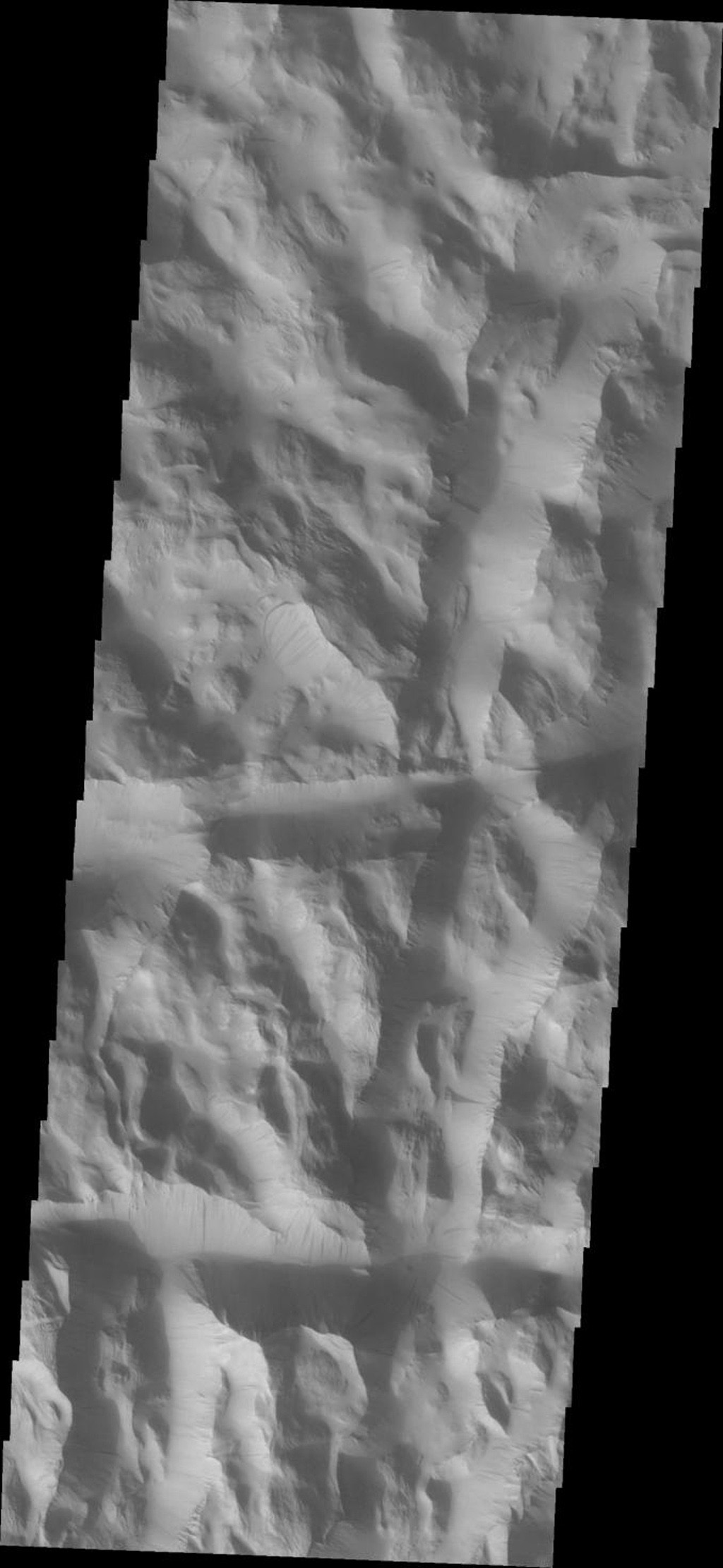 Dark slope streaks are common in Lycus Sulci on Mars in this image from 2001 Mars Odyssey spacecraft.