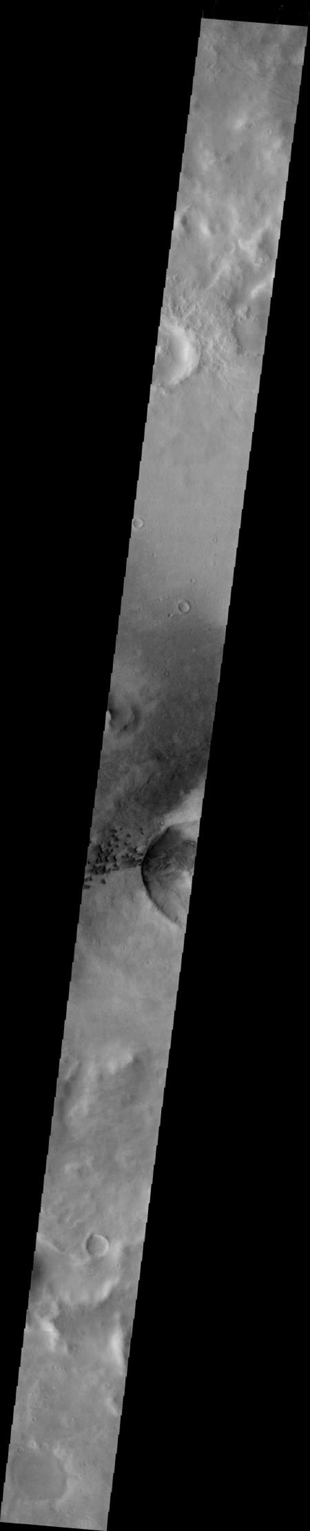 This image from NASA's 2001 Mars Odyssey crosses Green Crater on Mars.The small dark dunes are located on the floor of Green Crater near a younger impact.