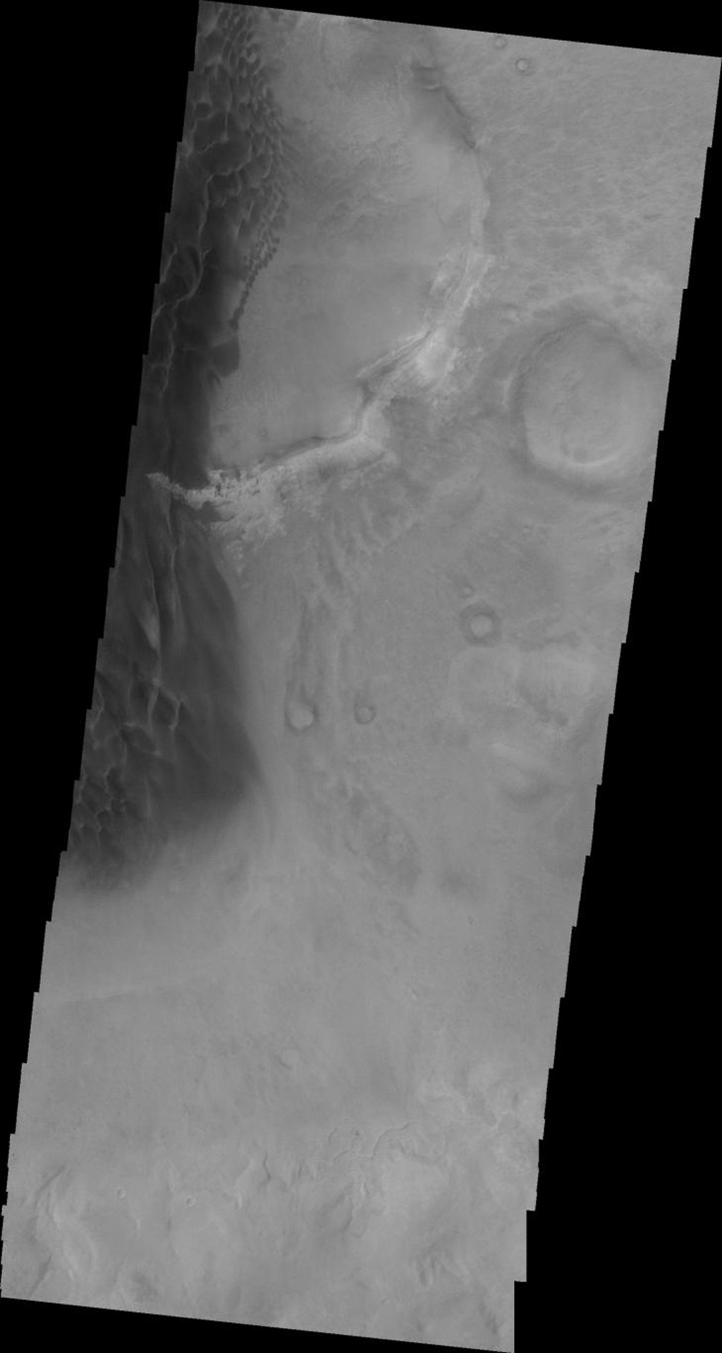 This 2001 Mars Odyssey image shows the eastern margin of the sand sheet and dune field on the floor of Rabe Crater on Mars.