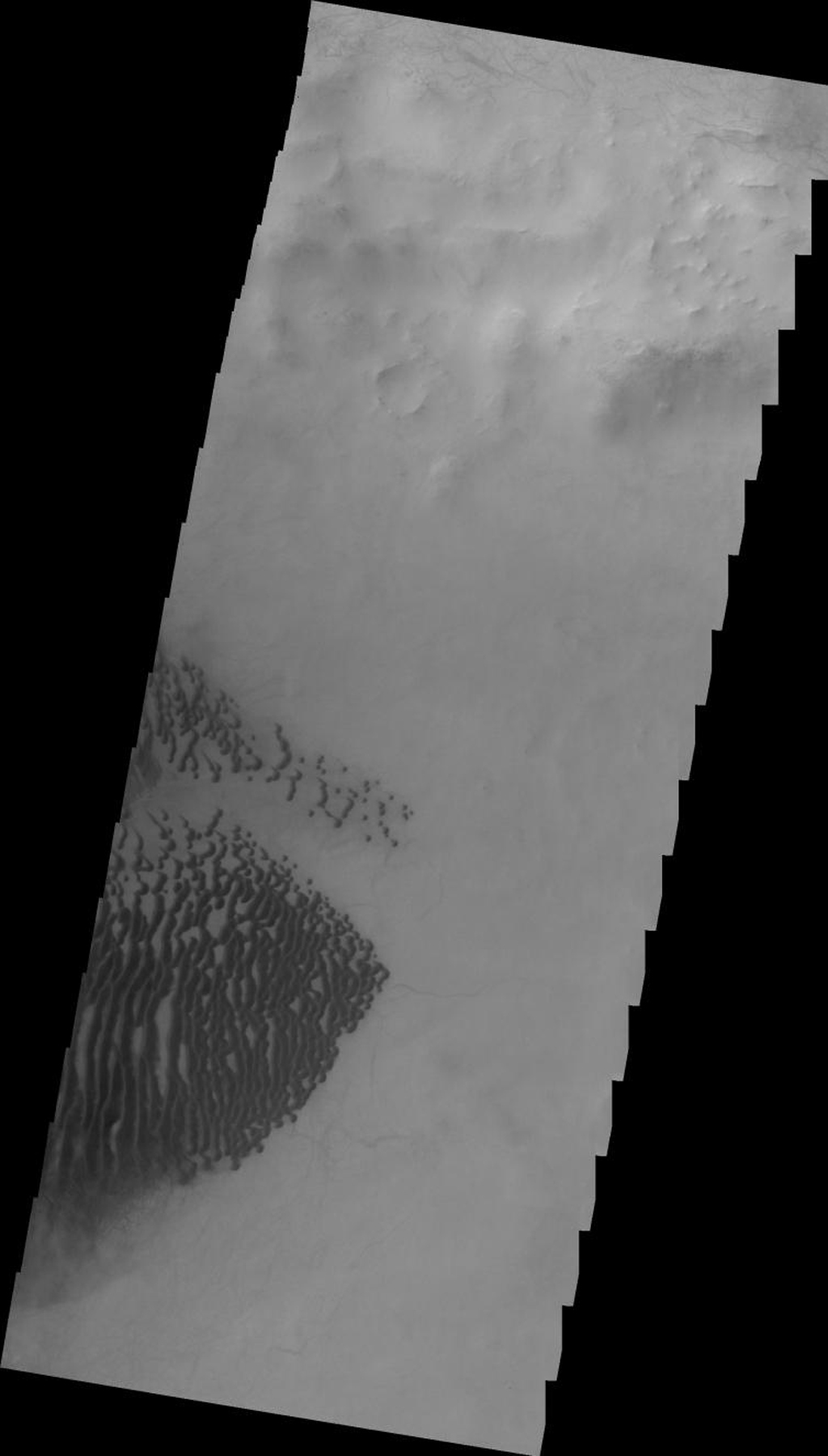 This 2001 Mars Odyssey image shows dark dunes on the floor of Lamont Crater on Mars.