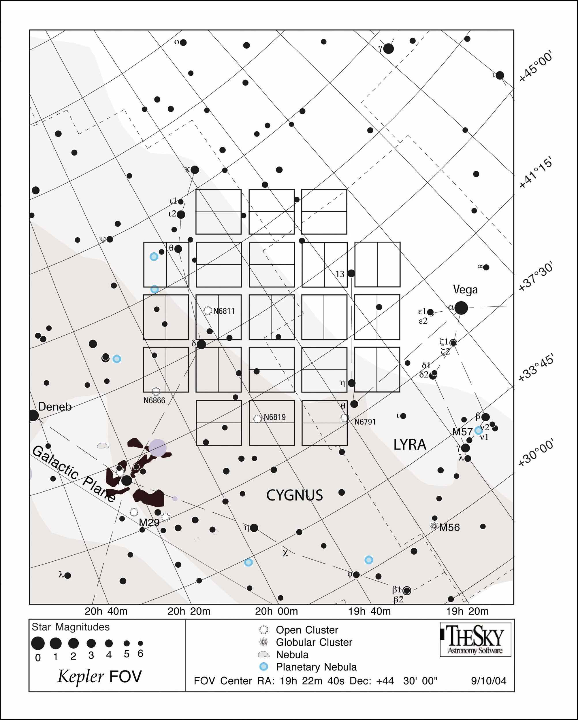 This star chart illustrates the large patch of sky that NASA's Kepler mission will stare at for the duration of its three-and-a-half-year lifetime.