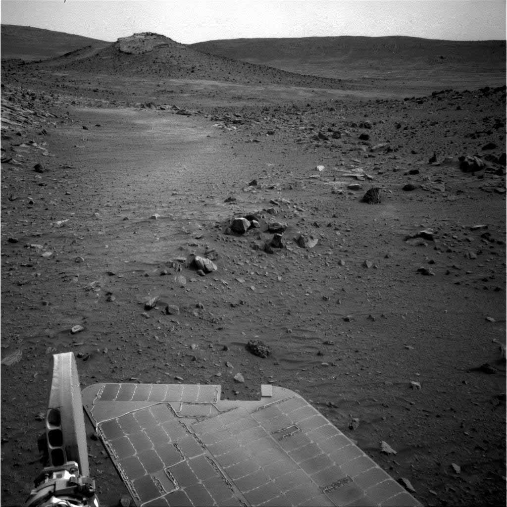 NASA's Mars Exploration Rover Spirit used its navigation camera to capture this view of the terrain toward the southeast from the location Spirit reached on the 1,871st Martian day, or sol, of the rover's mission on Mars (April 8, 2009).