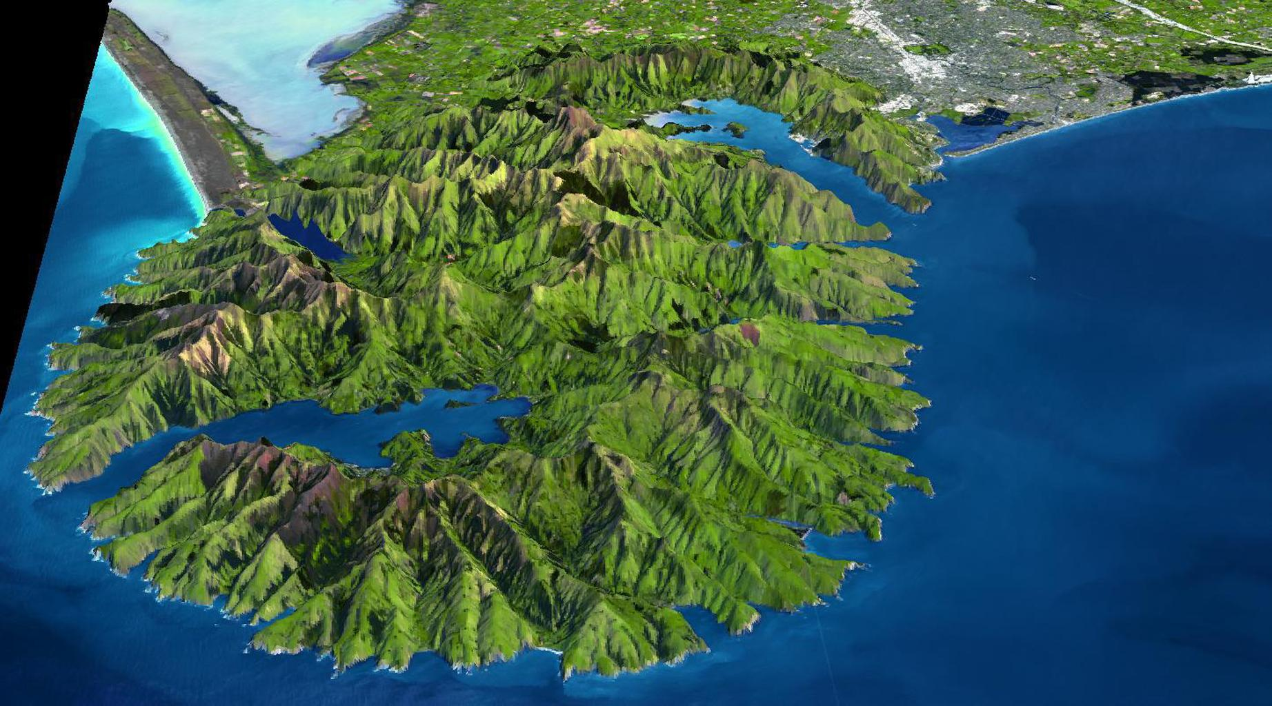The Banks Peninsula, New Zealand was created by volcanic activity in the Miocene epoch about 10 million years ago. This image is from NASA's Terra spacecraft.