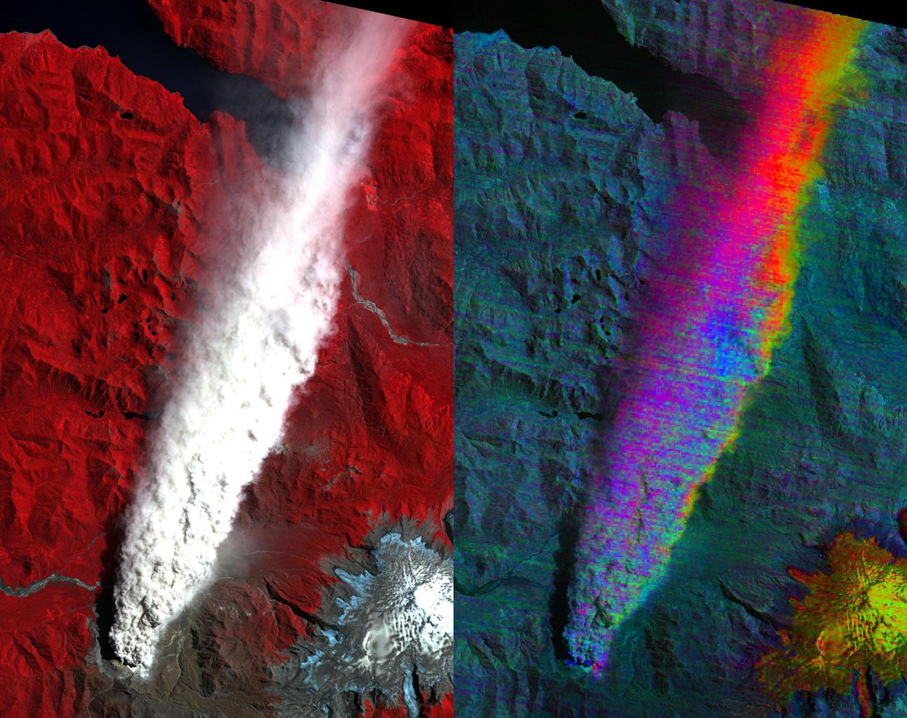 Chaiten Volcano, Chile continues to erupt after first exploding in May 2008 following about 9,000 years of inactivity. This image from NASA's Terra spacecraft shows vegetation in red. You can clearly see the extent of the plume.