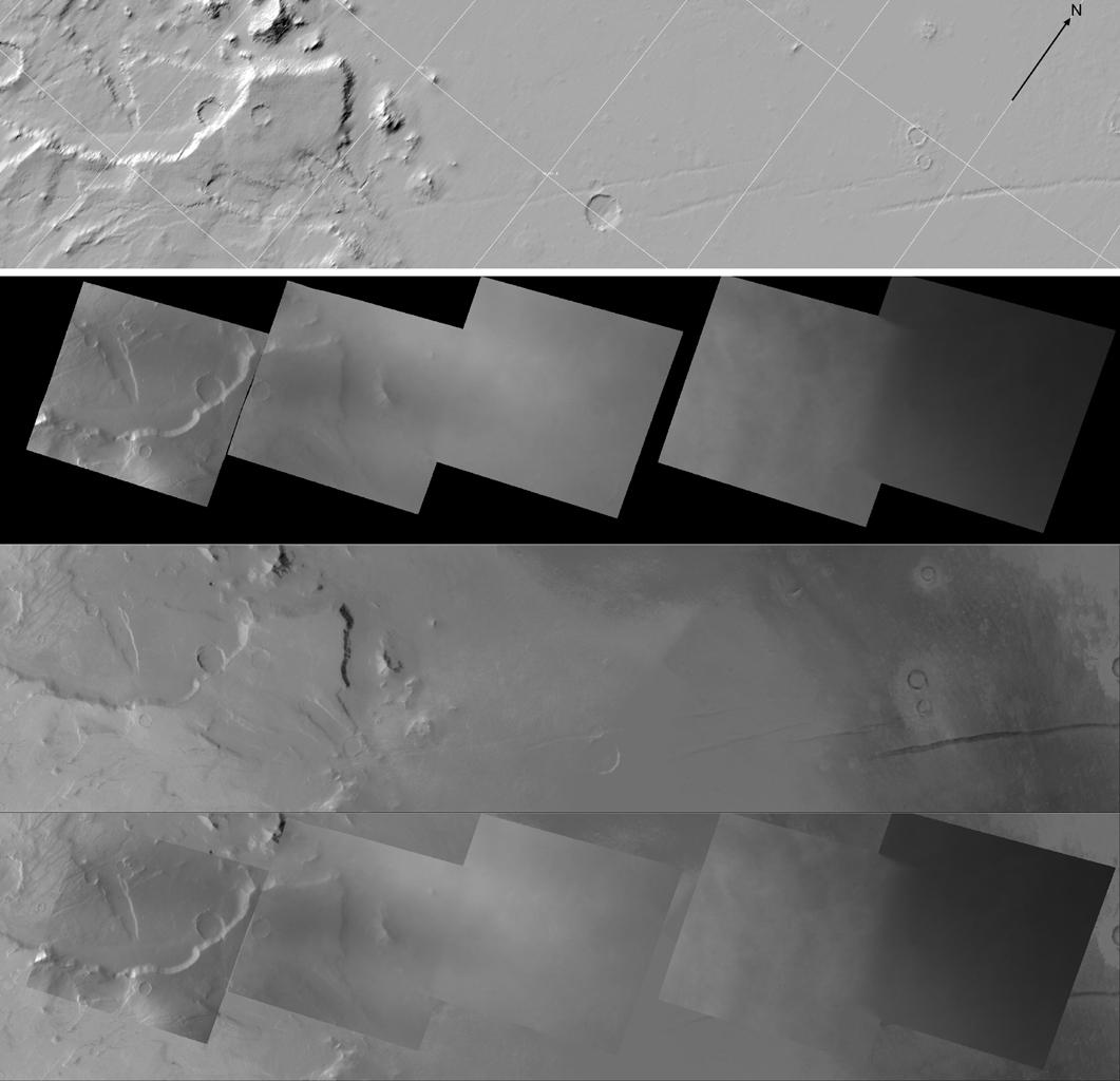 Each image on this High Resolution Stereo Camera Image Composite (HRSC) mosaic is of the same location observed by Dawn's Framing Camera when it flew by Mars to complete the spacecraft's gravity assist maneuver on February 17, 2009.