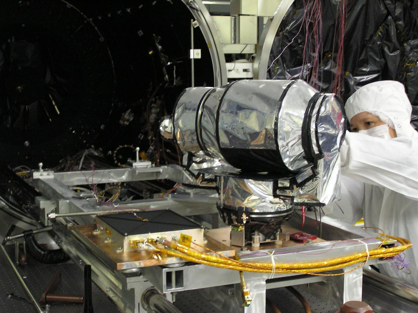 This image shows final preparations being made for thermal balance testing of the Diviner Lunar Radiometer Experiment at JPL. Diviner is one of seven instruments aboard NASA's LRO Mission.