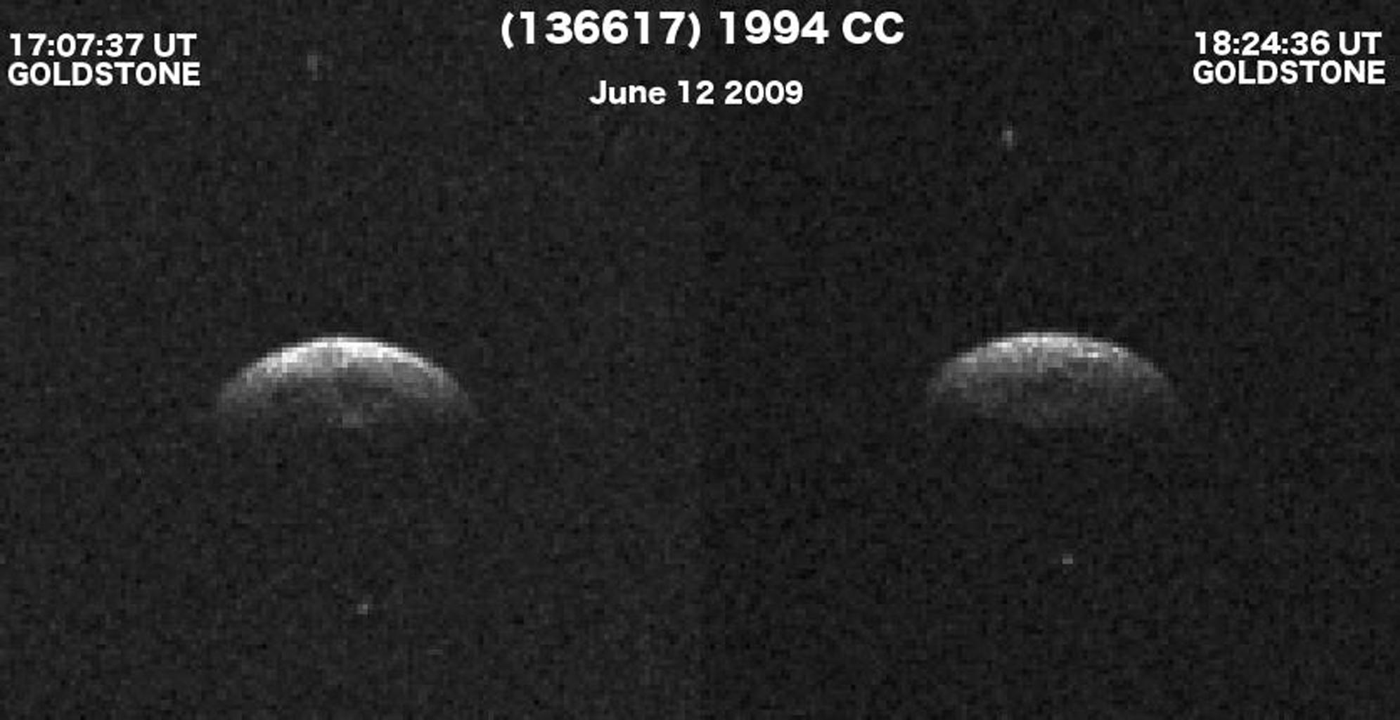 NASA's Deep Space Network, Goldstone radar images show triple asteroid 1994 CC, which consists of a central object approximately 700 meters (2,300 feet) in diameter and two smaller moons that orbit the central body. Animation available at the Photojournal