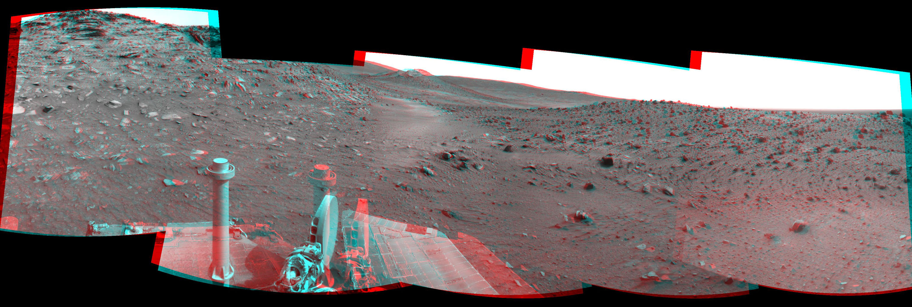 This stereo scene combines frames taken by the navigation camera on NASA's Mars Exploration Rover Spirit during the 1,871st Martian day, or sol, of Spirit's mission on Mars (April 8, 2009). You will need 3-D glasses to view this image.