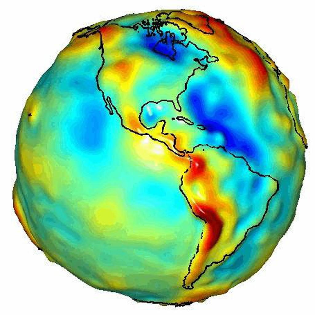 This visualization of a gravity model was created with data from NASA's Gravity Recovery and Climate Experiment (GRACE) and shows variations in Earth's gravity field.