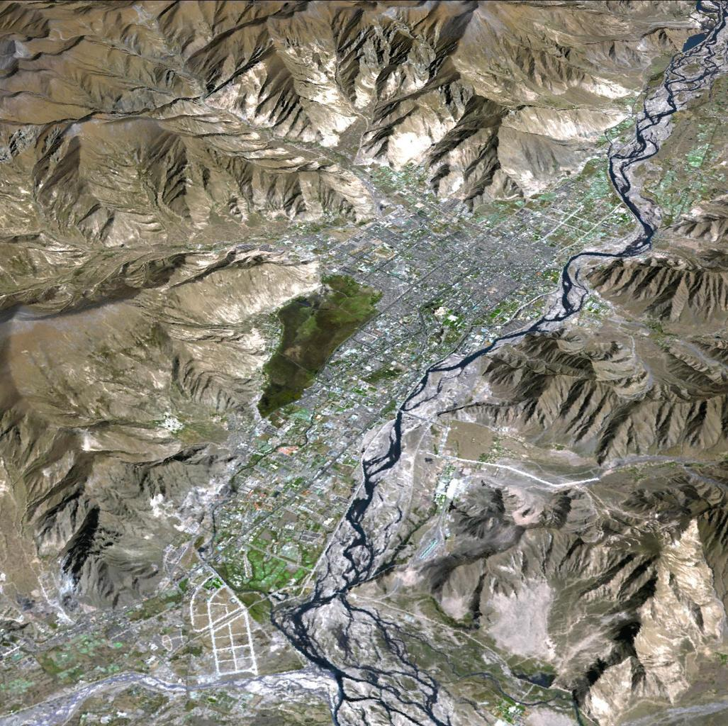 JPL's Advanced Spaceborne Thermal Emission and Reflection Radiometer aboard NASA's Terra satellite, shows Lhasa, the traditional seat of the Dalai Lama and capital of the Tibet Autonomous Region in China.
