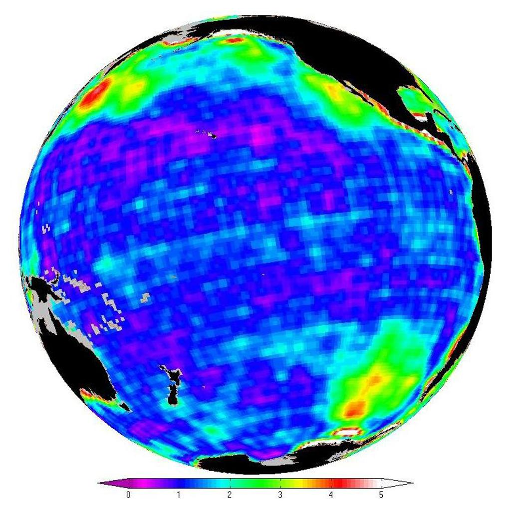 This map shows changes in ocean bottom pressure measured by NASA's Gravity Recovery and Climate Experiment.