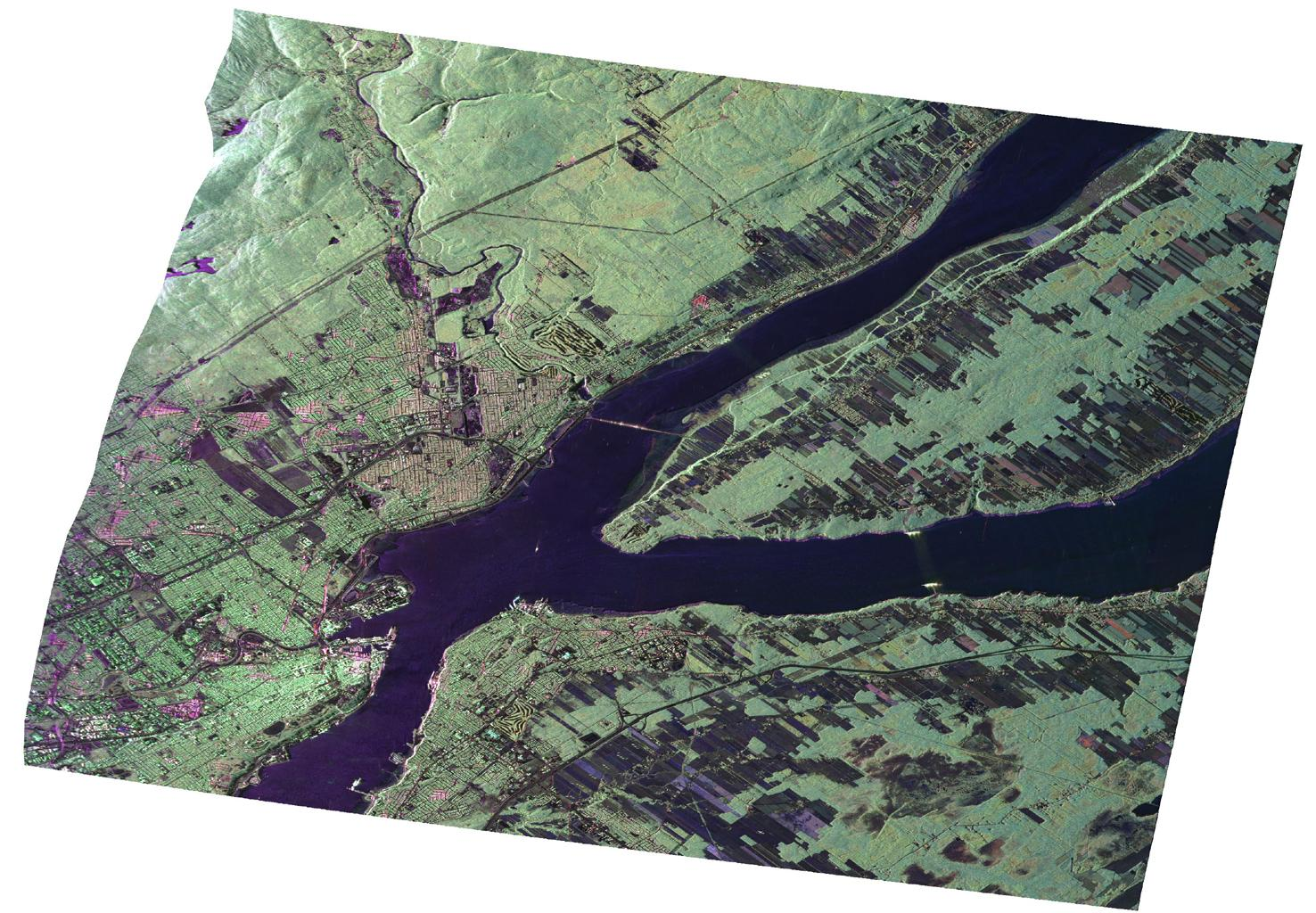 JPL's Uninhabited Aerial Vehicle Synthetic Aperture Radar collected this composite radar image around Québec City, Canada, during an 11-day campaign to study the structure of temperate and boreal forests.