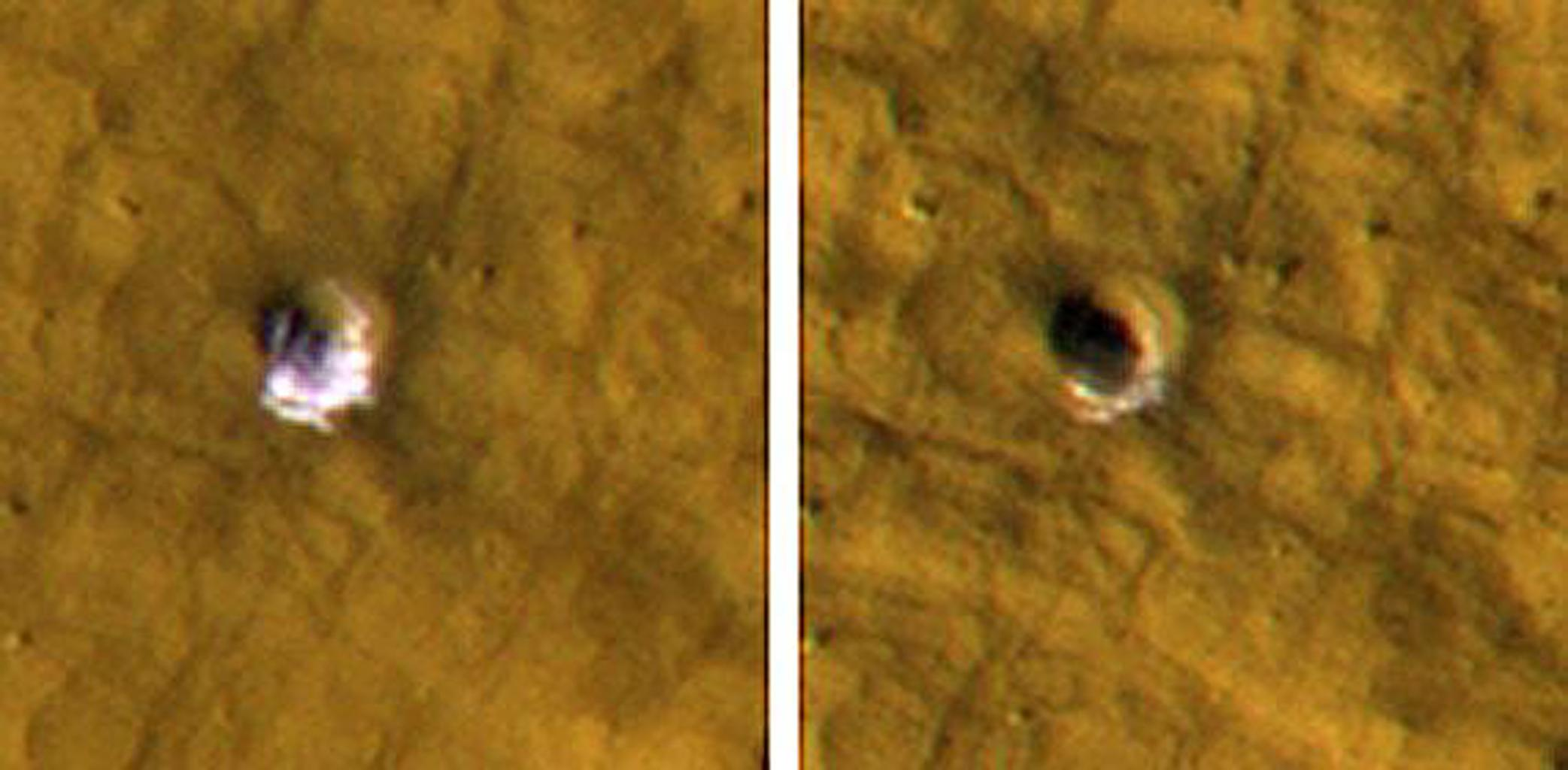NASA's Mars Reconnaissance Orbiter reveals underground ice exposed by impact cratering. The impact that dug the crater excavated water ice from beneath the surface.