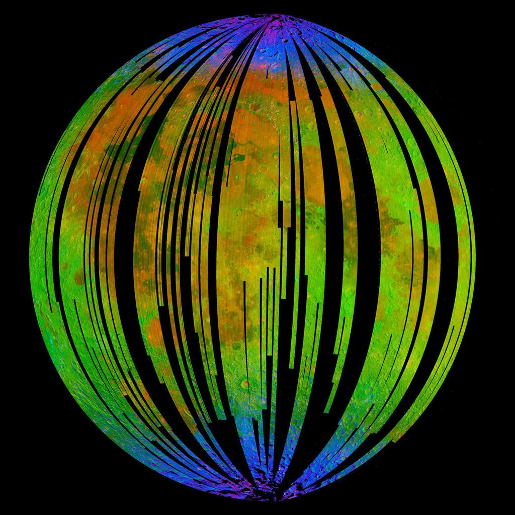 This image of the moon is from NASA's Moon Mineralogy Mapper on the Indian Space Research Organization's Chandrayaan-1 mission. It is a three-color composite of reflected near-infrared radiation from the sun.