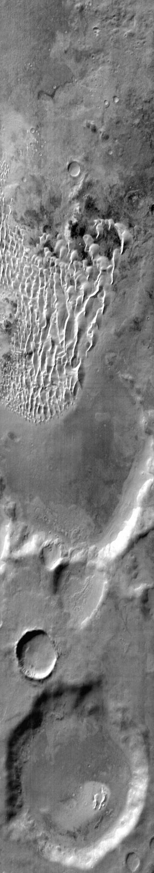 This image from NASA's Mars Odyssey shows part of the floor of Kaiser Crater including dunes on Mars.