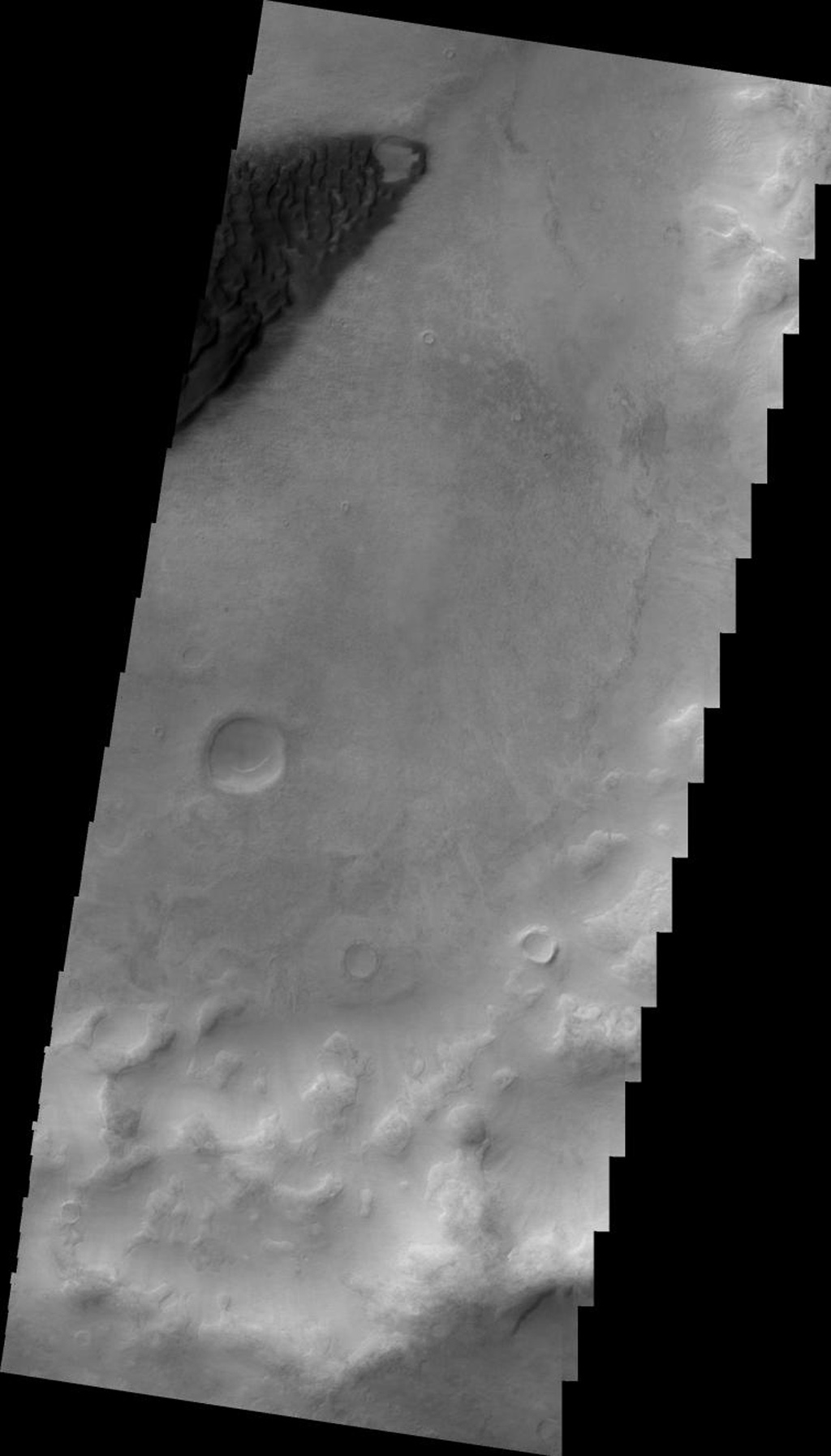 This image from NASA's Mars Odyssey shows a portion of a dune field on the floor of an unnamed crater in Noachis Terra on Mars.