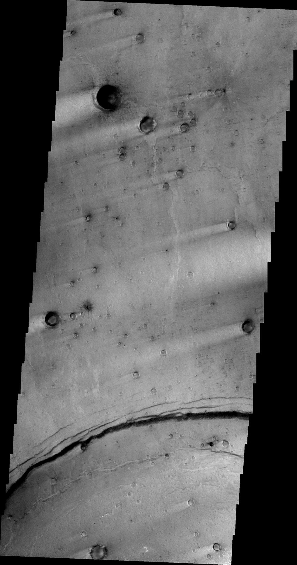 This image, taken by NASA's 2001 Mars Odyssey spacecraft, shows multiple craters with windstreak 'tails.'