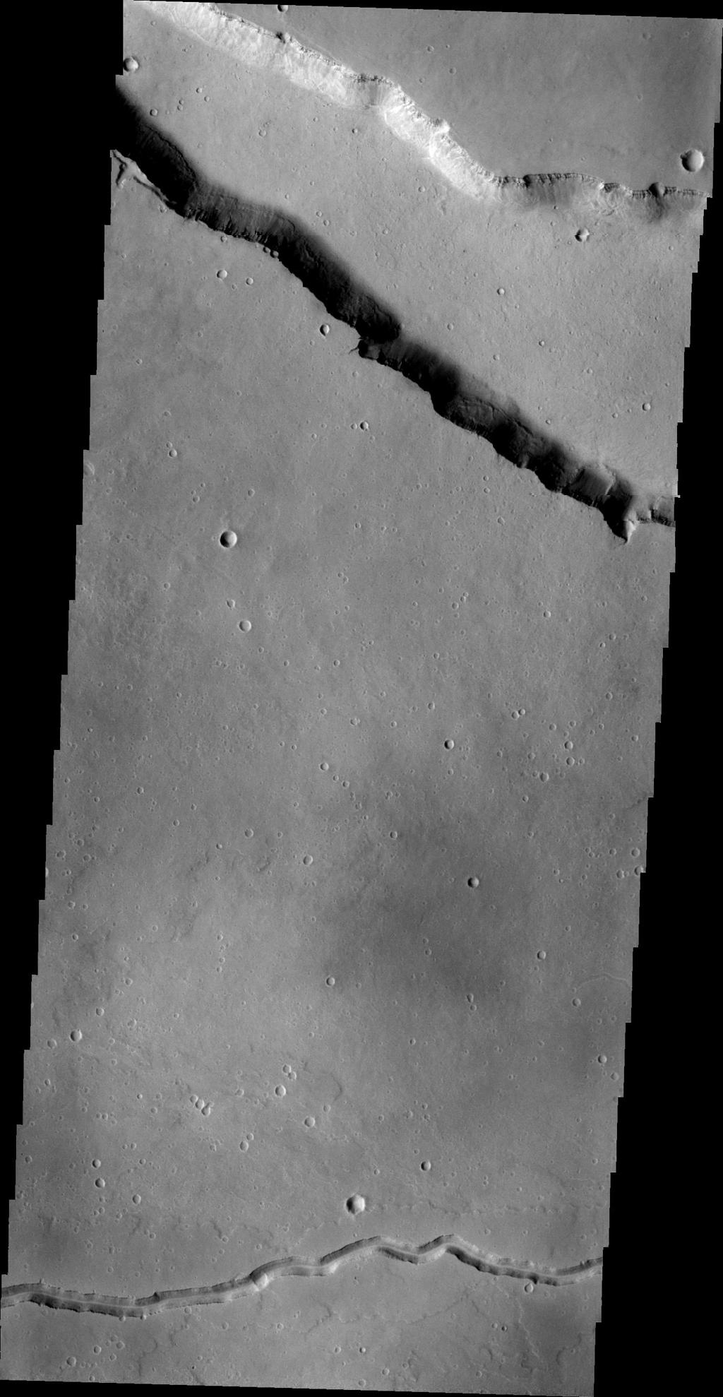 This NASA 2001 Mars Odyssey spacecraft image shows two different types of linear depressions. The wide depression at the top of the frame is Elysium Fossae, which most likely formed due to tectonic activity.