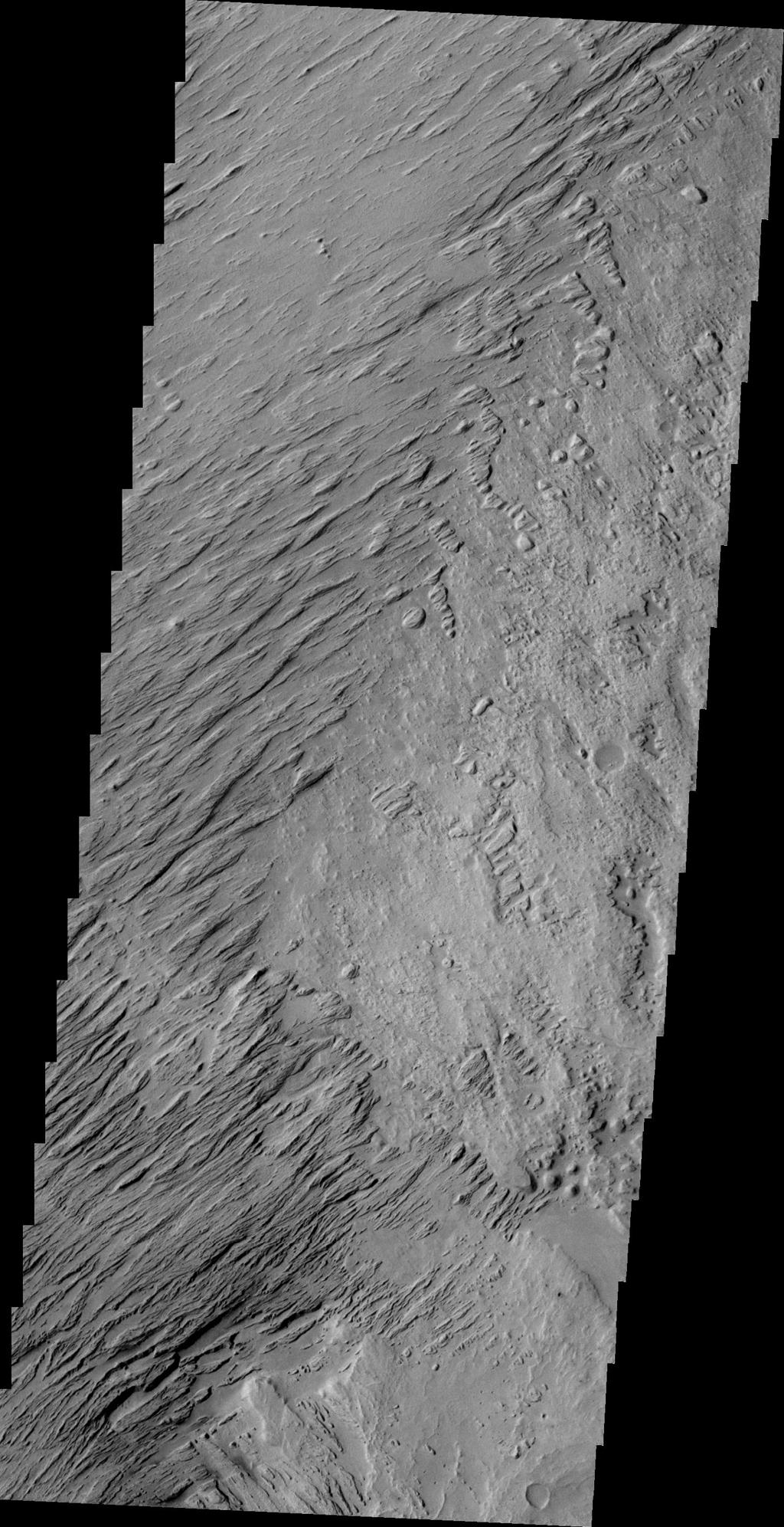 This image of Zephyria Planum, taken by NASA's 2001 Mars Odyssey spacecraft, shows wind eroded yardangs.