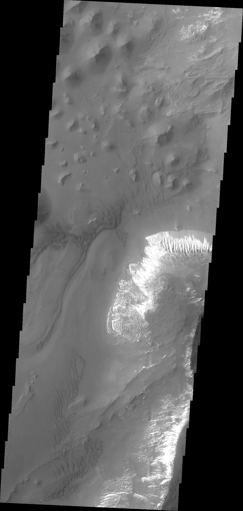 Taken by NASA's 2001 Mars Odyssey spacecraft, this image shows a small portion of the floor of Capri Chasma. Bright layered deposits and dunes are visible.