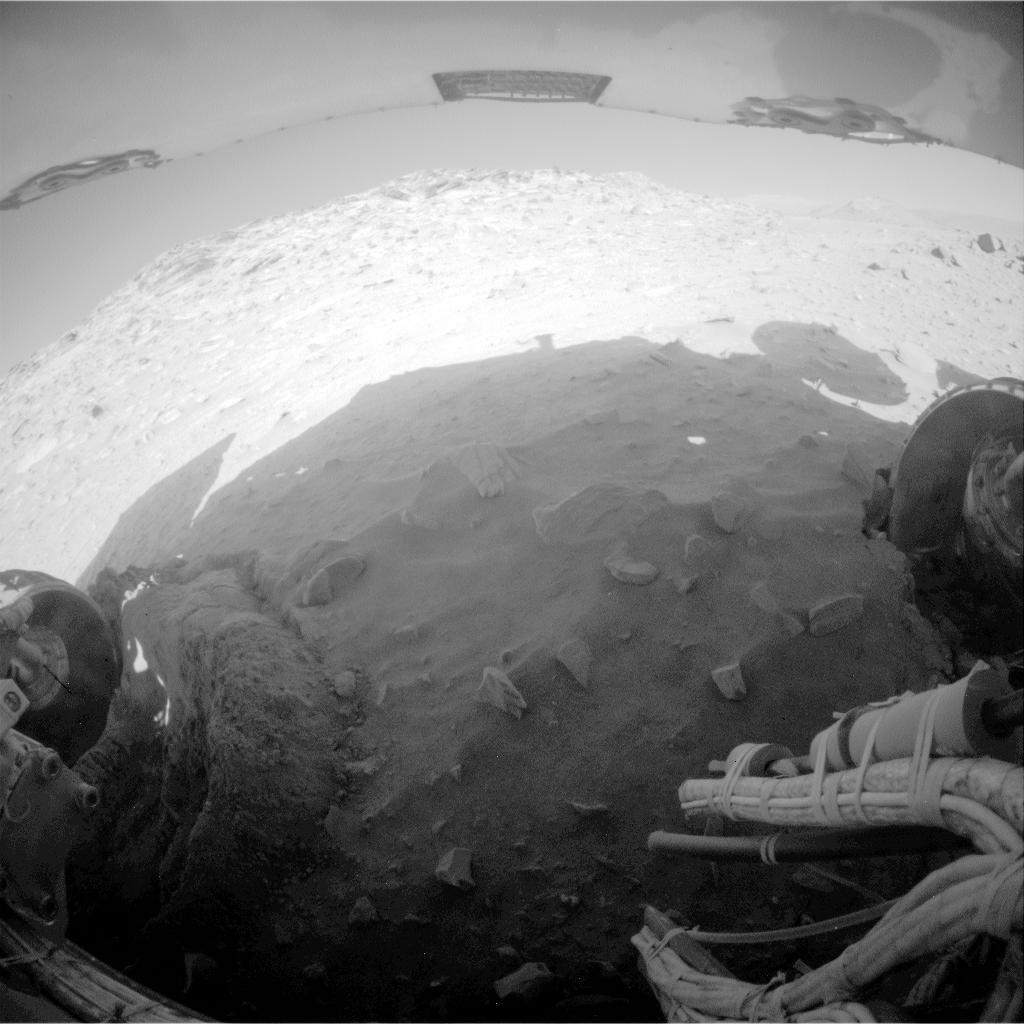 NASA's Mars Exploration Rover Spirit recorded this fisheye view after completing a drive during on Mars on Feb. 8, 2010. The drive left Spirit in the position where the rover will stay parked during the upcoming Mars southern-hemisphere winter.