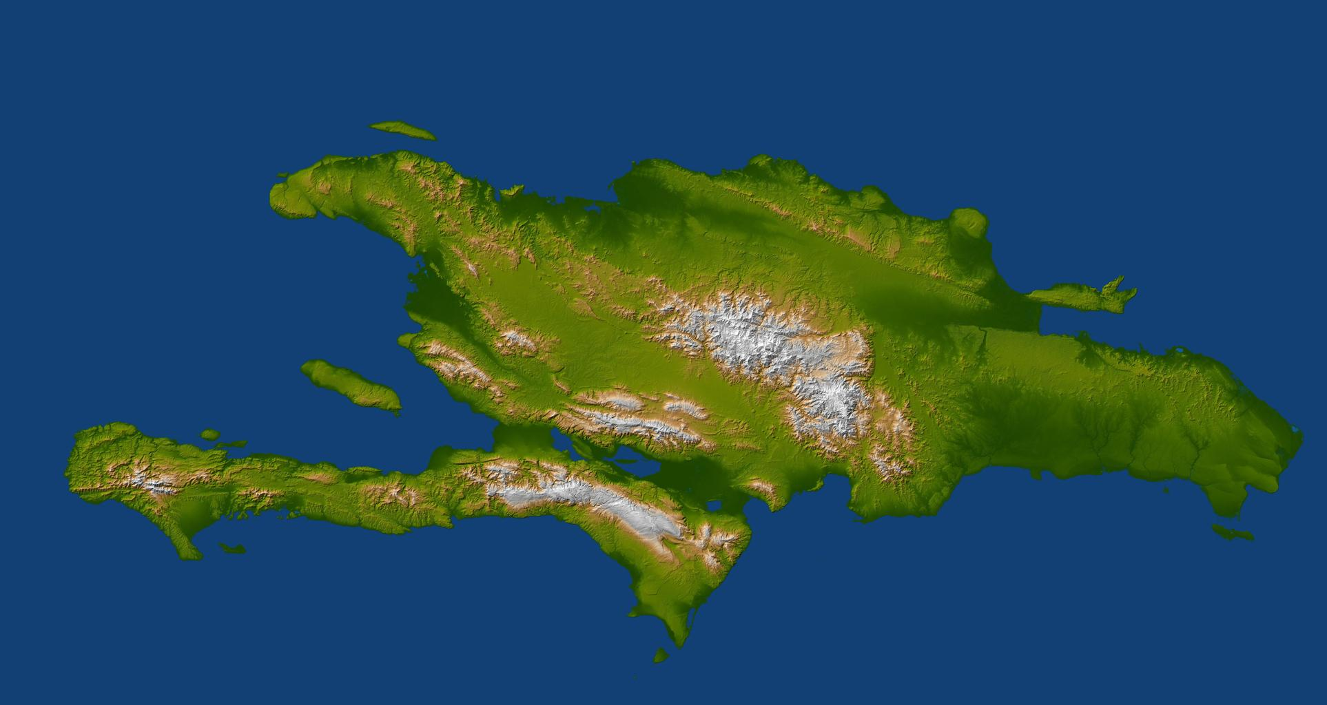 This image, produced from instrument data aboard NASA's Space Shuttle Endeavour, is a perspective view of the topography of Port-au-Prince, Haiti and Hispianola. A magnitude 7.0 earthquake occurred on Haiti on January 12, 2010.