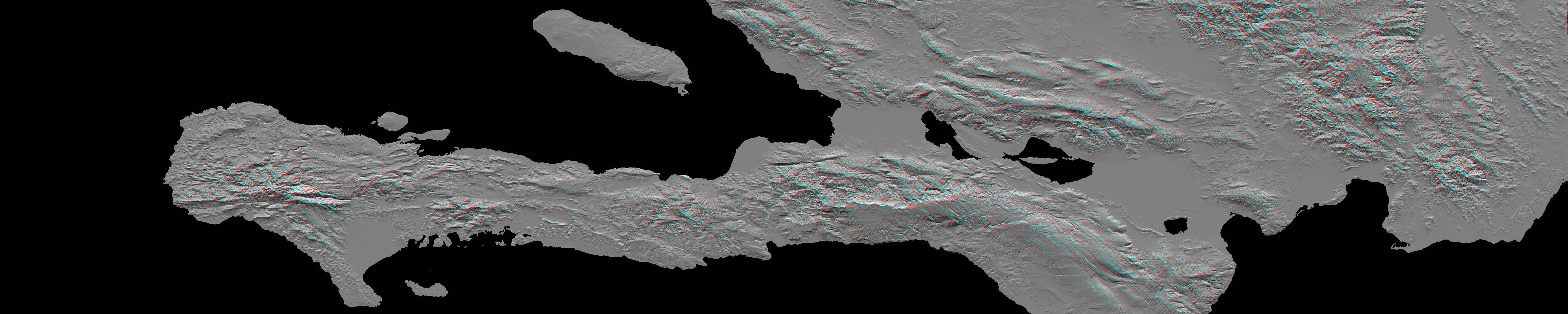 This image, produced from instrument data aboard NASA's Space Shuttle Endeavour, is a stereoscopic view of the topography of Port-au-Prince, Haiti where a magnitude 7.0 earthquake occurred on January 12, 2010. You need 3-D glasses to view this image.