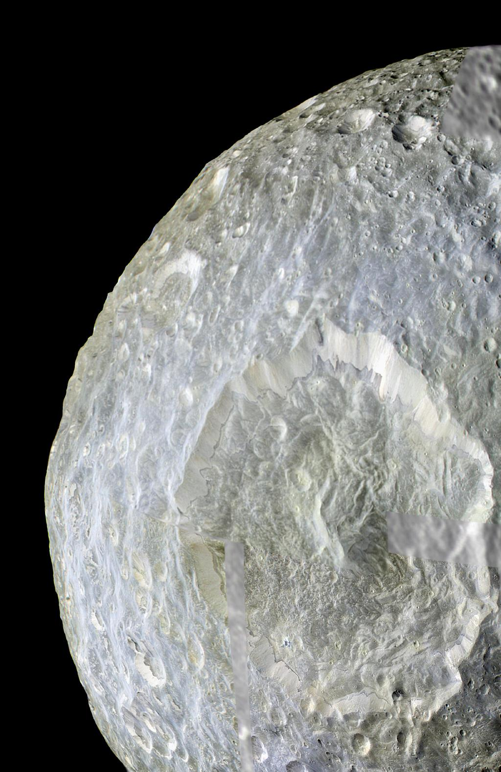 Subtle color differences on Saturn's moon Mimas are apparent in this false-color view of Herschel Crater captured during NASA's Cassini spacecraft on its closest-ever flyby of that moon.
