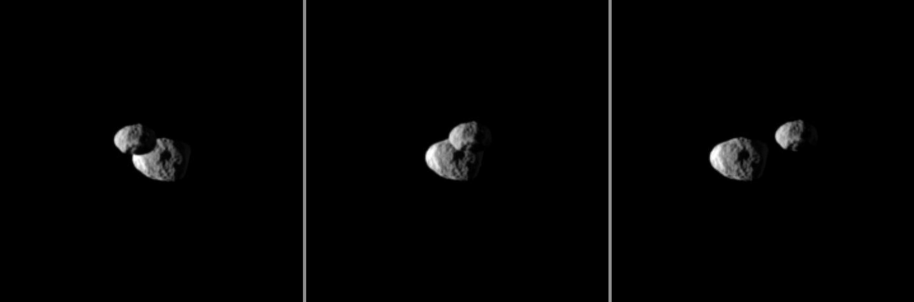 "Saturn's moon Epimetheus passes in front of Janus in this ""mutual event"" (one moon passing close to or in front of another) chronicled by NASA's Cassini spacecraft. These three images were each taken a little more than a minute apart."