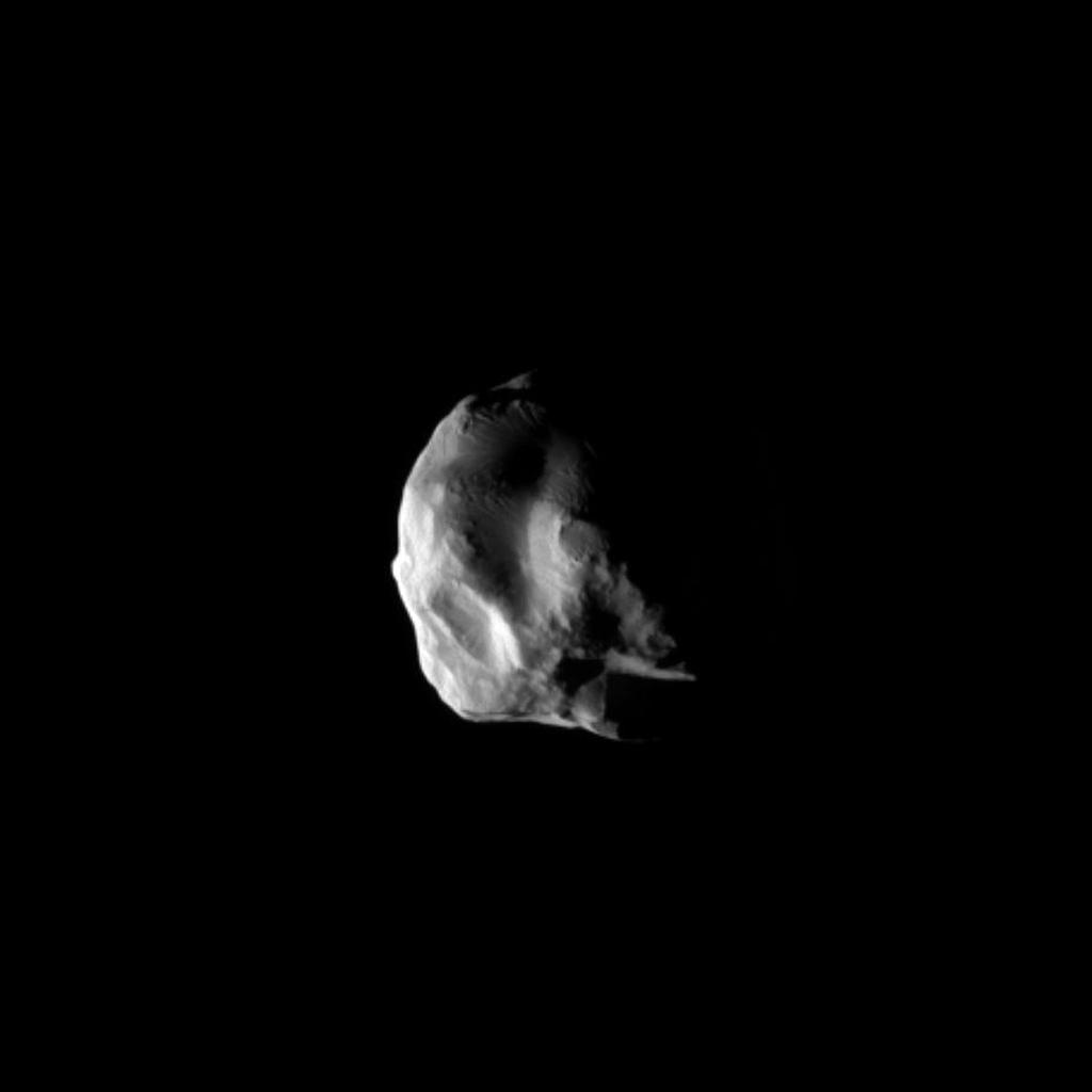 NASA's Cassini spacecraft snapped this image during the spacecraft's closest flyby of Saturn's moon Helene, on March 3, 2010. Helene is a 'Trojan' moon of Dione, named for the Trojan asteroids that orbit ahead of and behind Jupiter.