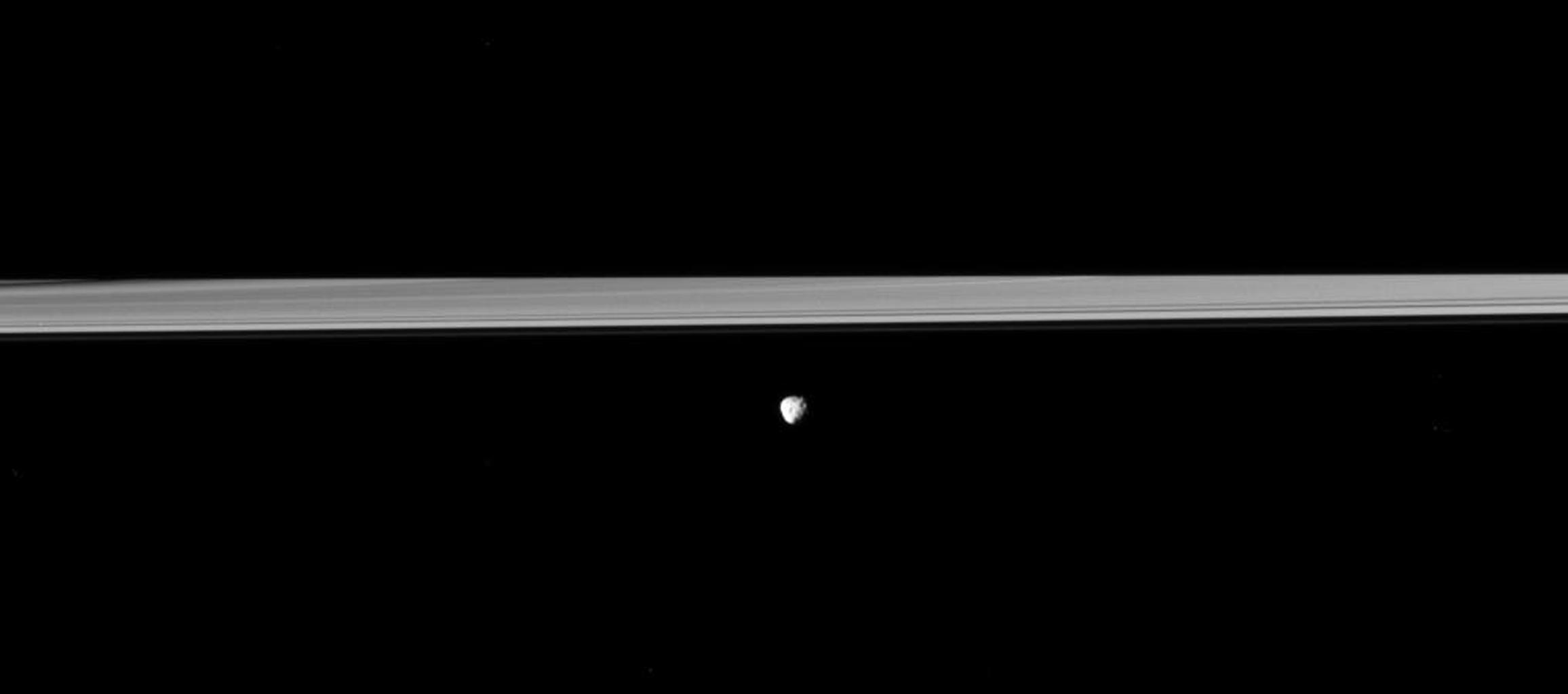 Saturn's moon Janus orbits in front of the rings, which are partially darkened by the shadow of the planet in viwe from NASA's Cassini spacecraft. Saturn's shadow obscures about half the rings.