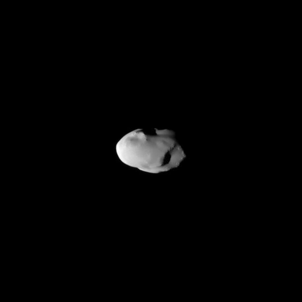 The smooth surface of Saturn's moon Telesto is documented in this image captured during the NASA's Cassini spacecraft's Aug. 27, 2009, flyby.