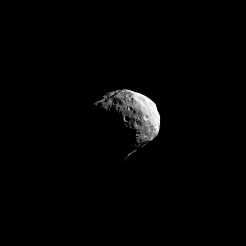 Swinging by Saturn's small moon Epimetheus, NASA's Cassini spacecraft snapped this shot during the spacecraft's April 7, 2010, flyby.
