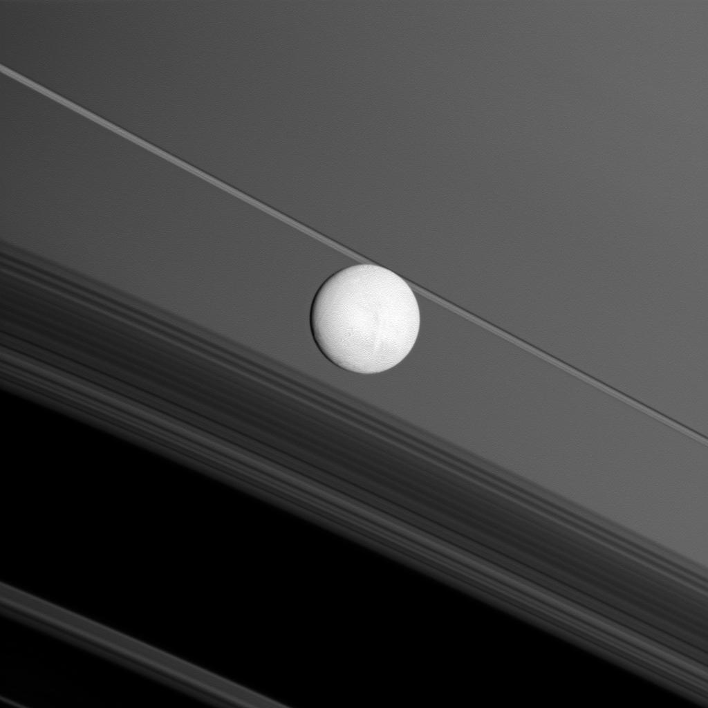 Saturn's moon Enceladus brightly reflects sunlight before a backdrop of the planet's rings and the rings' shadows cast onto the planet. NASA's Cassini spacecraft captured this snapshot during its flyby of the moon on Nov. 30, 2010.