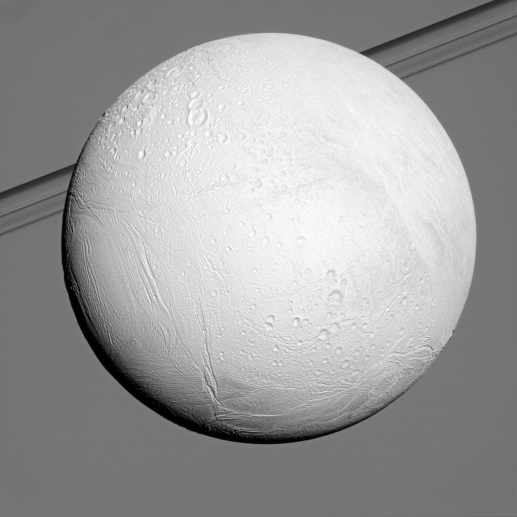 Saturn's moon Enceladus reflects sunlight brightly while the planet and its rings fill the background in this view from NASA's Cassini spacecraft. Enceladus is one of the most reflective bodies in the solar system.