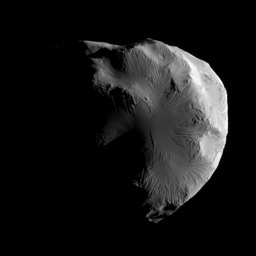 NASA's Cassini spacecraft snapped this image of Saturn's moon Helene while completing the mission's second-closest encounter of the moon on June 18, 2011.