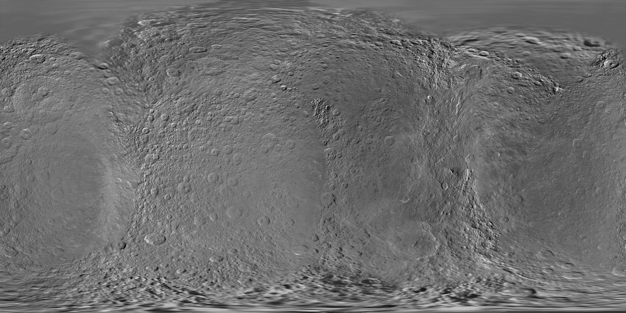 This global digital map of Saturn's moon Rhea was created using data obtained by NASA's Cassini and Voyager spacecraft.