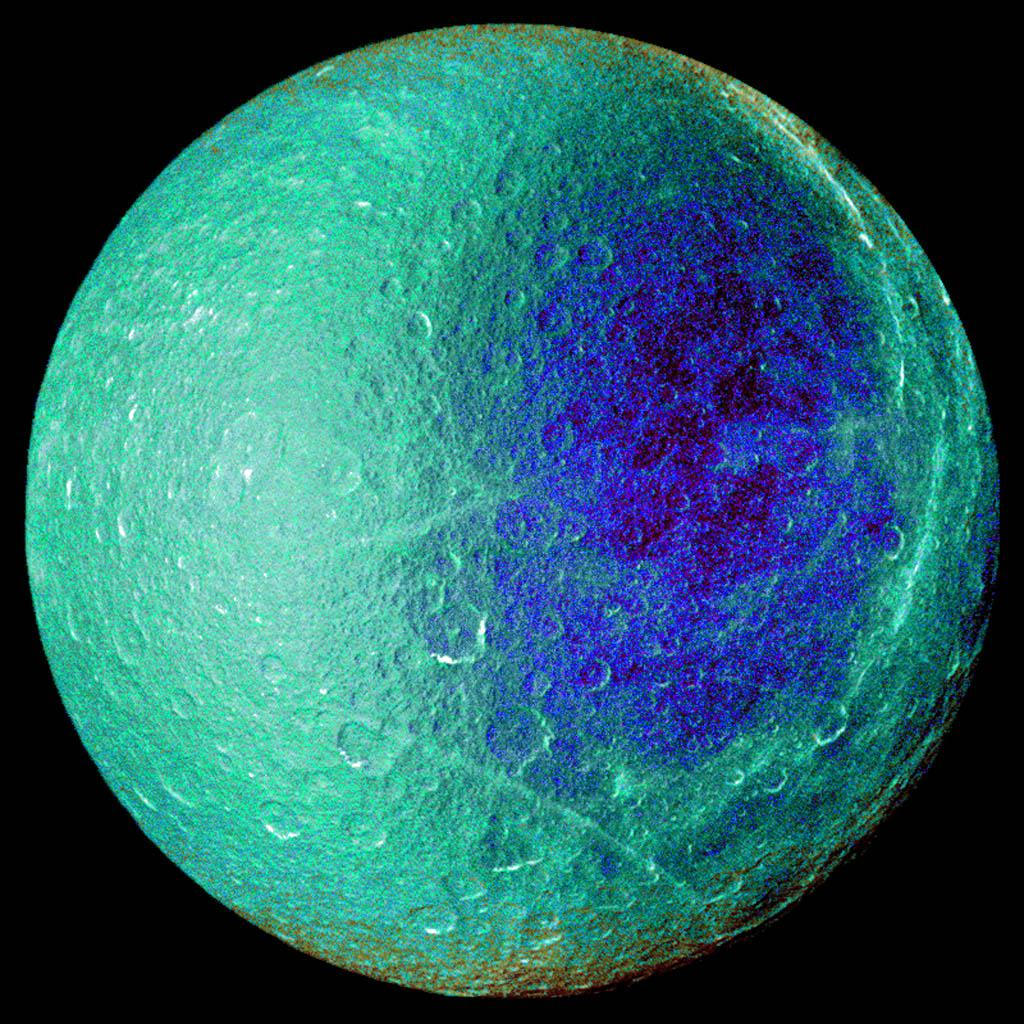 Hemispheric color differences on Saturn's moon Rhea are apparent in this false-color view from NASA's Cassini spacecraft. This image shows the side of the moon that always faces the planet.